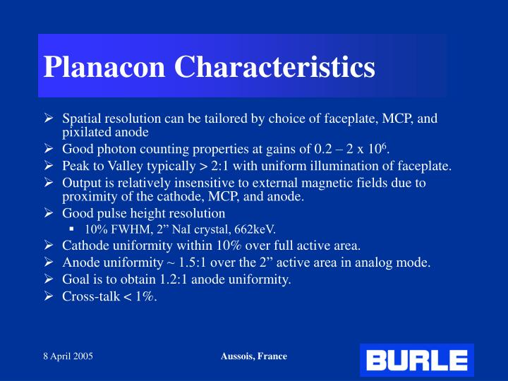 Planacon Characteristics
