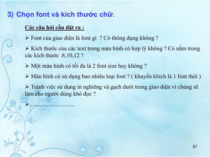 Chn font v kch thc ch.