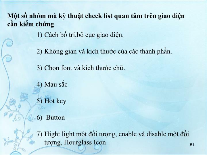 Mt s nhm m k thut check list quan tm trn giao din cn kim chng