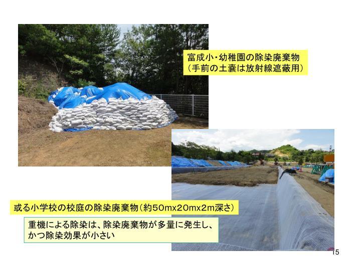 富成小・幼稚園の除染廃棄物
