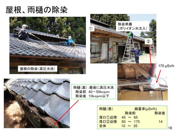屋根、雨樋の除染