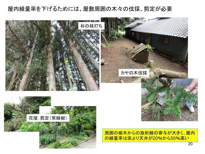 屋内線量率を下げるためには、屋敷周囲の木々の伐採、剪定が必要