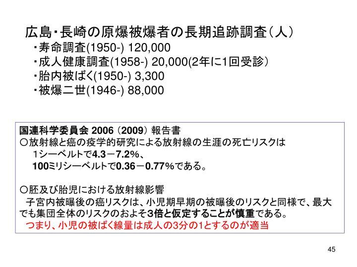 広島・長崎の原爆被爆者の長期追跡調査(人)