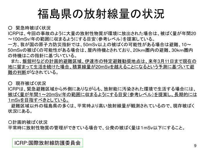 福島県の放射線量の状況