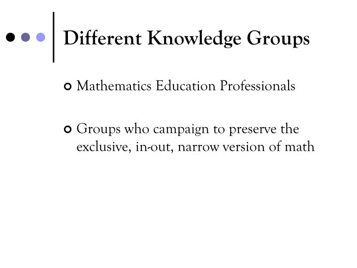 Different Knowledge Groups