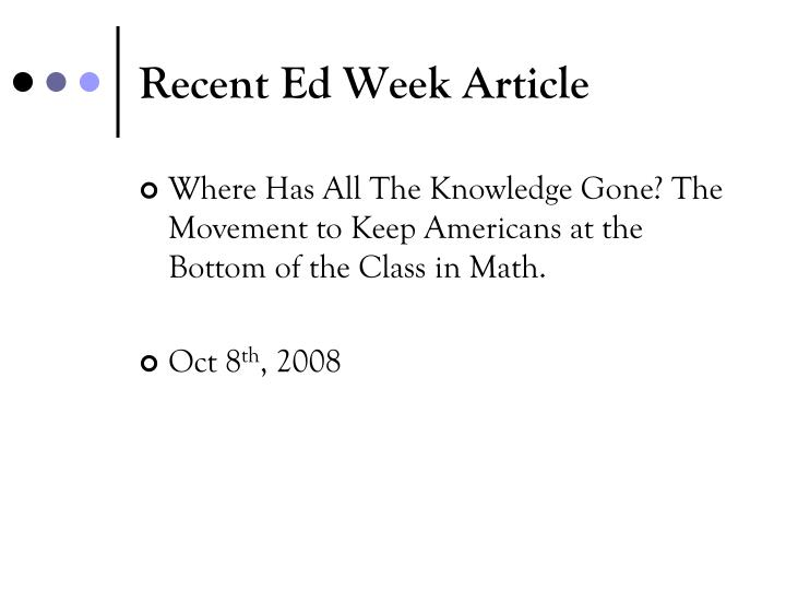 Recent Ed Week Article