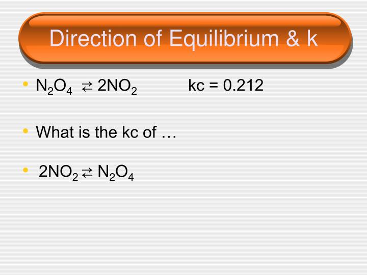 Direction of Equilibrium & k