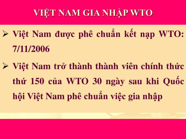 VIỆT NAM GIA NHẬP WTO