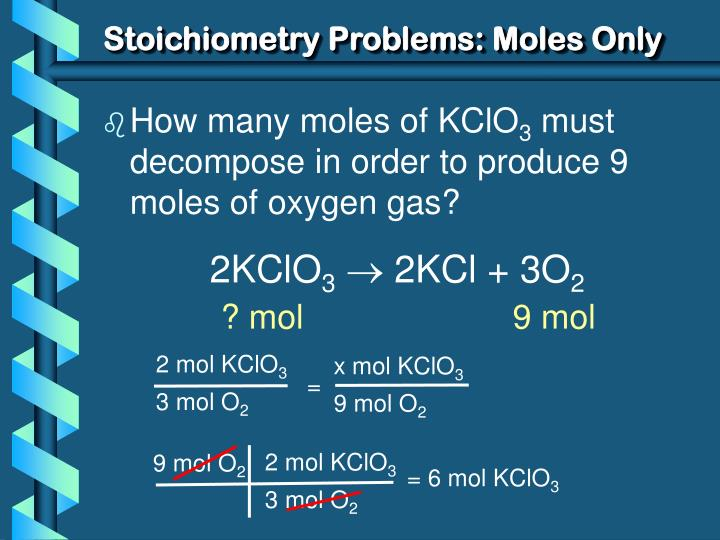 Stoichiometry Problems: Moles Only