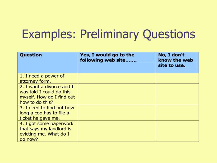 Examples: Preliminary Questions