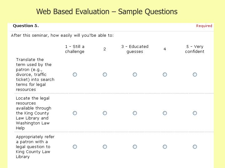 Web Based Evaluation – Sample Questions