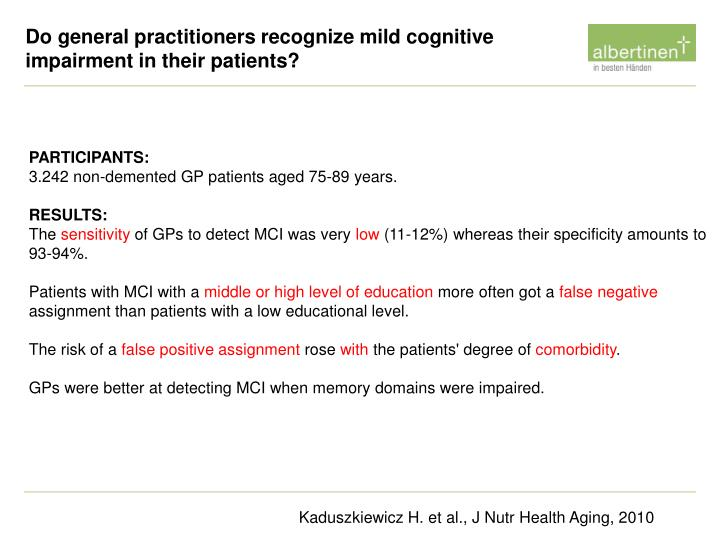 Do general practitioners recognize mild cognitive