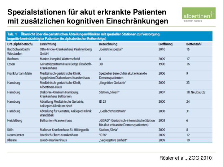 Spezialstationen für akut erkrankte Patienten mit zusätzlichen kognitiven Einschränkungen
