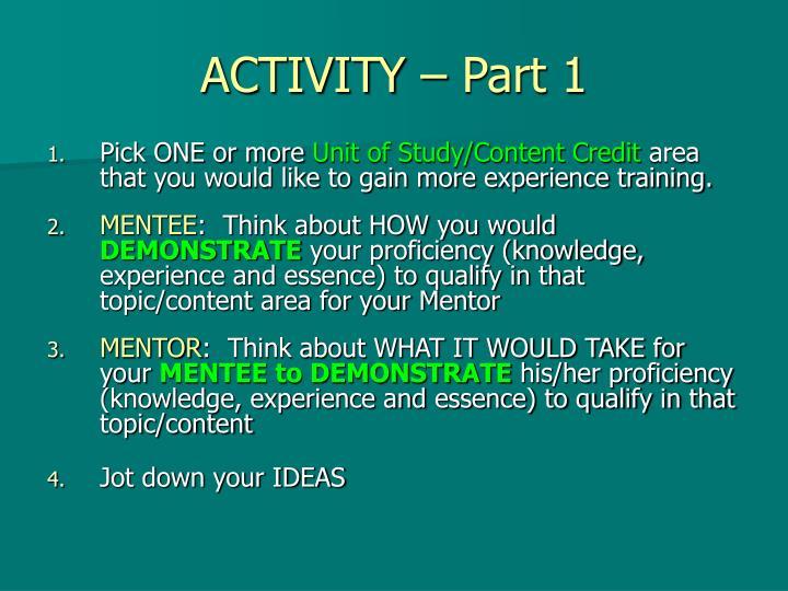 ACTIVITY – Part 1