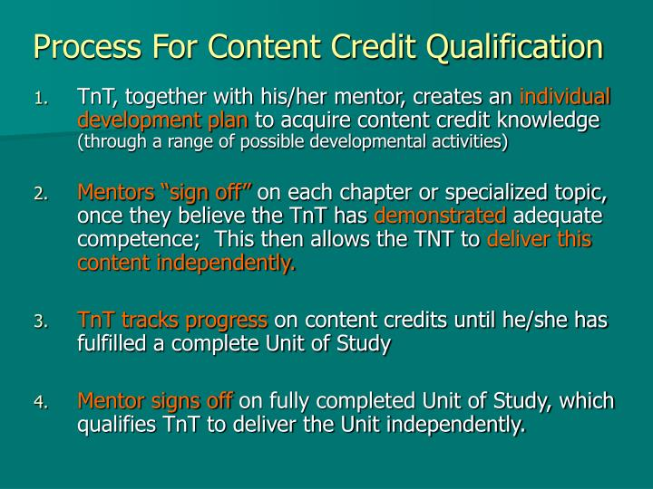 Process For Content Credit Qualification