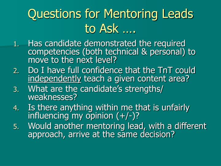 Questions for Mentoring Leads