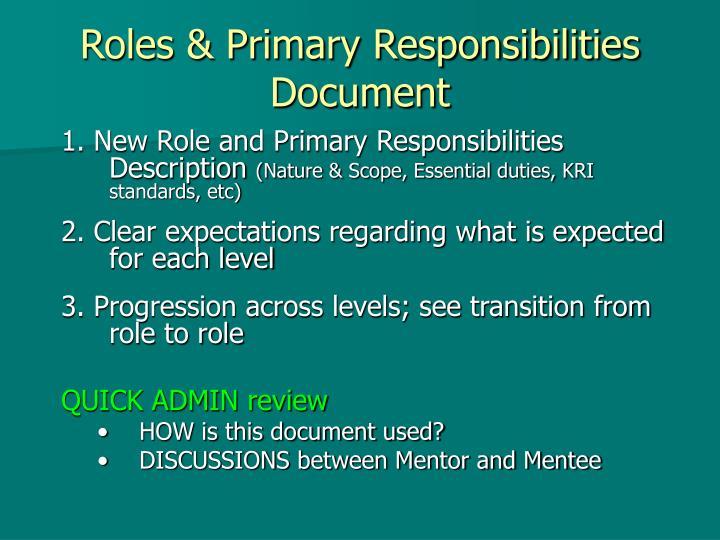 Roles & Primary Responsibilities Document