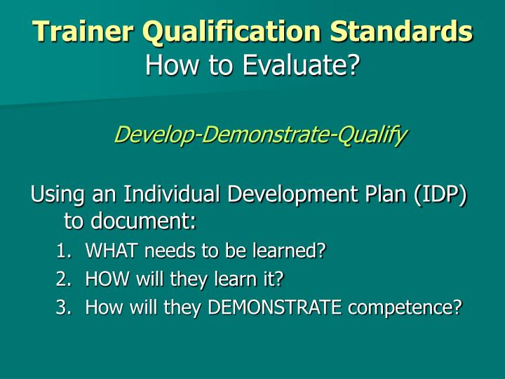 Trainer Qualification Standards