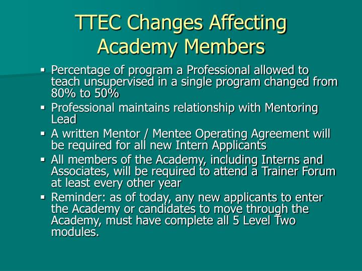 TTEC Changes Affecting
