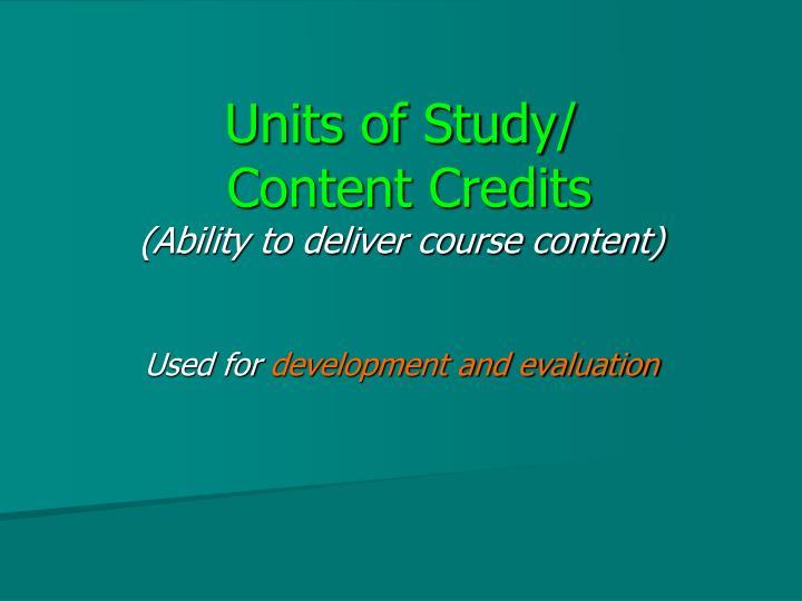 Units of Study/