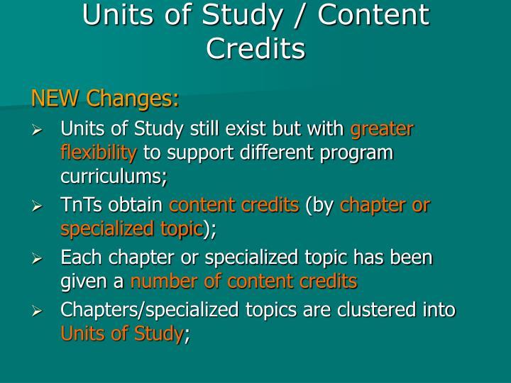 Units of Study / Content Credits