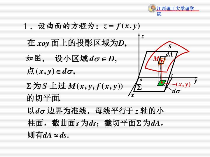 1.设曲面的方程为: