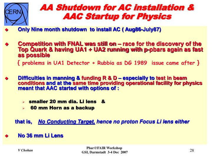 AA Shutdown for AC installation & AAC Startup for Physics