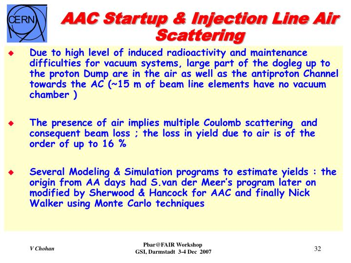AAC Startup & Injection Line Air Scattering