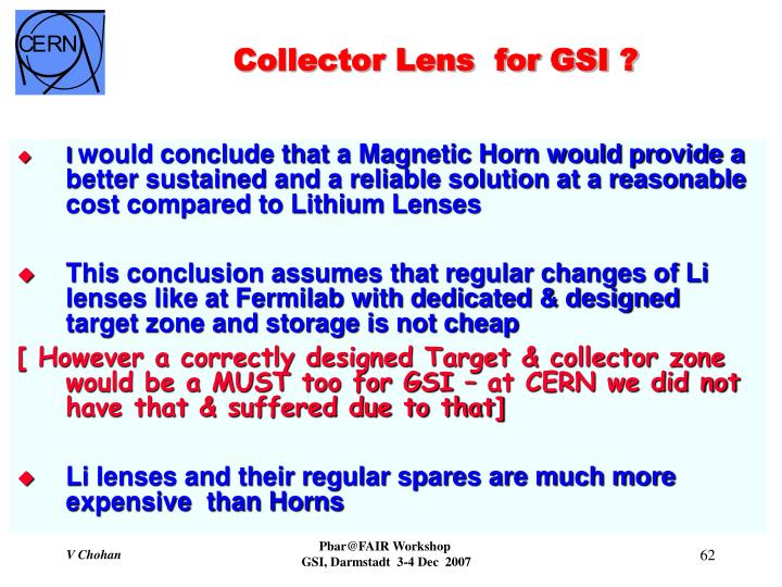 Collector Lens  for GSI ?