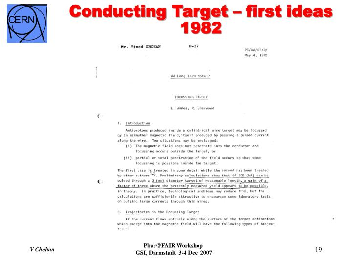 Conducting Target – first ideas 1982