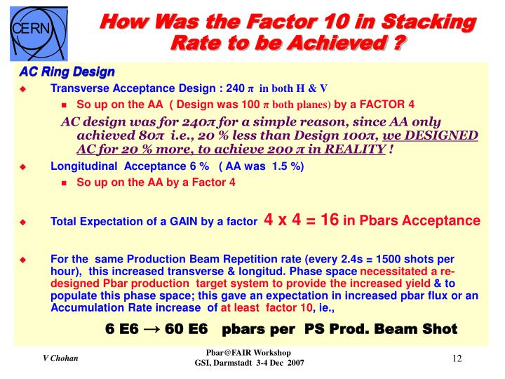 How Was the Factor 10 in Stacking Rate to be Achieved ?