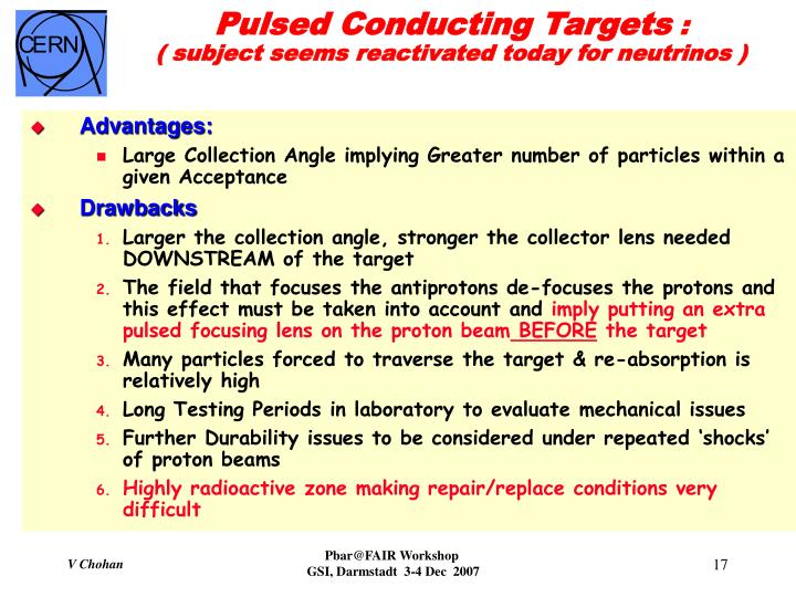 Pulsed Conducting Targets