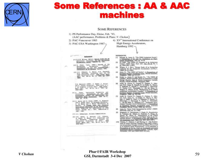 Some References : AA & AAC machines