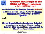 towards the design of the cern ac ring 1982 83 84 ad aa @fnal too