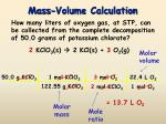 mass volume calculation