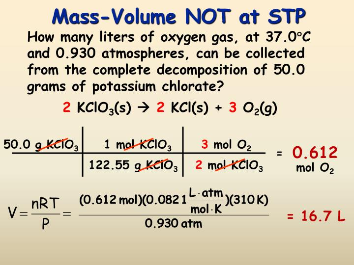 Mass-Volume NOT at STP
