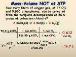 mass volume not at stp