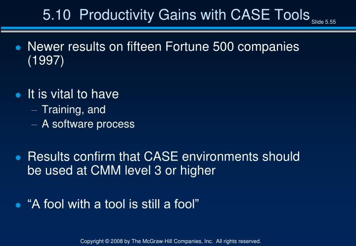 5.10  Productivity Gains with CASE Tools