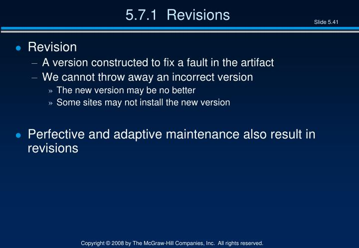 5.7.1  Revisions