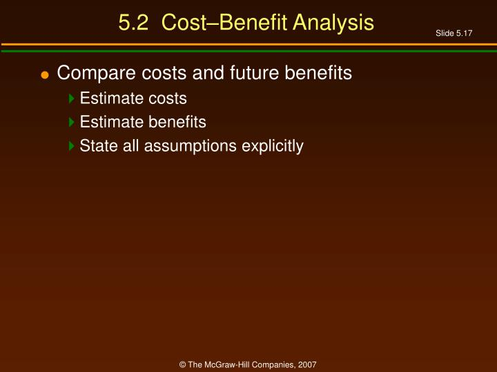 5.2  Cost–Benefit Analysis