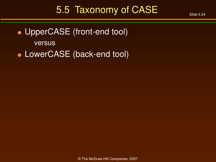 5.5  Taxonomy of CASE