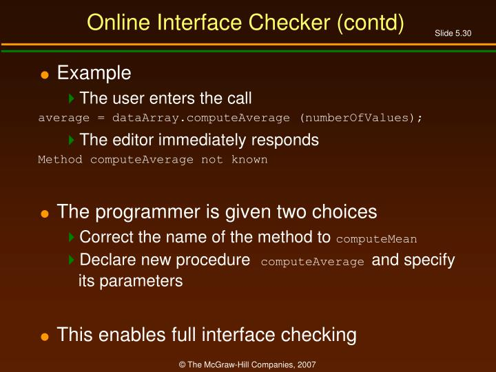 Online Interface Checker (contd)