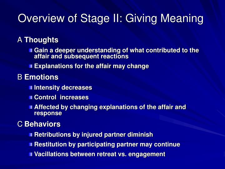 Overview of Stage II: Giving Meaning