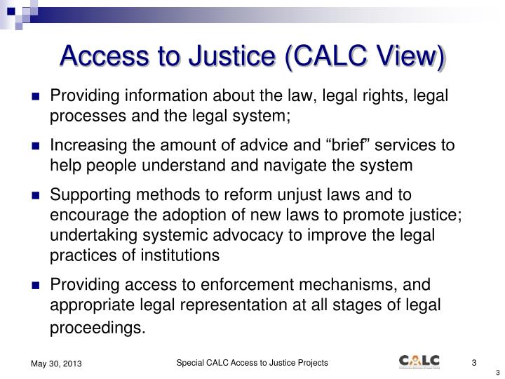 Access to Justice (CALC View)