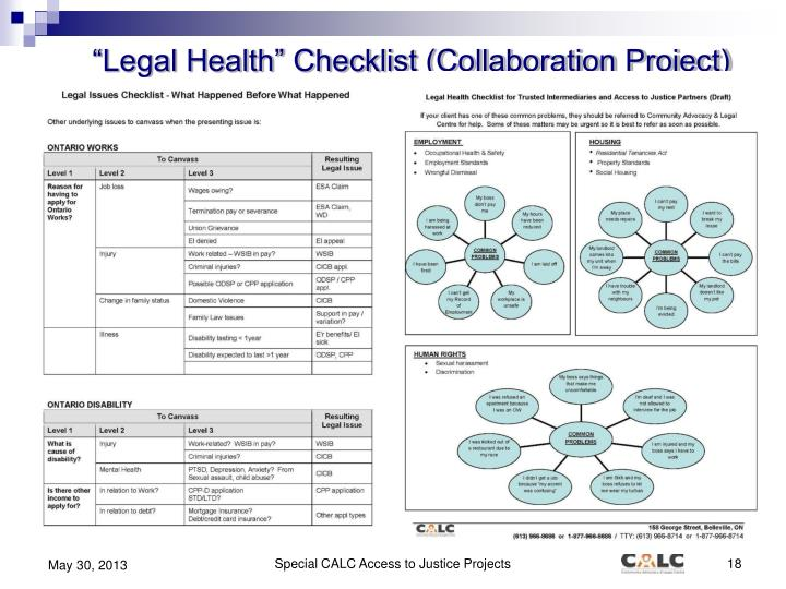 """Legal Health"" Checklist (Collaboration Project)"