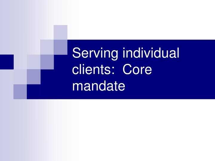 Serving individual clients:  Core mandate