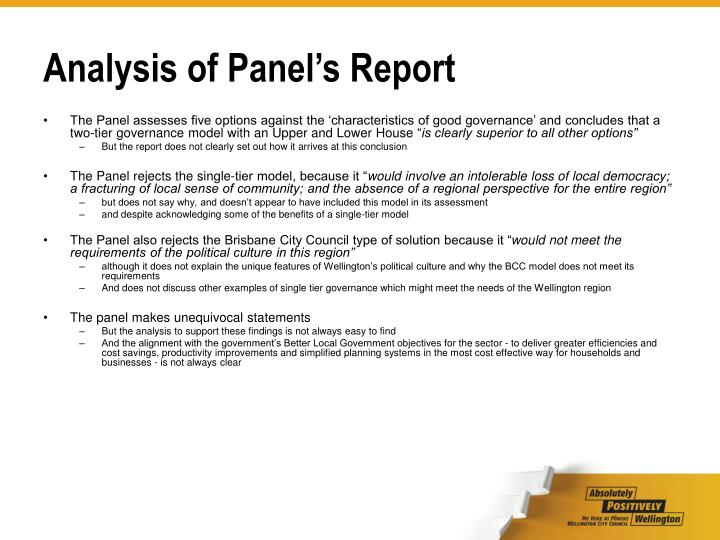 Analysis of Panel's Report