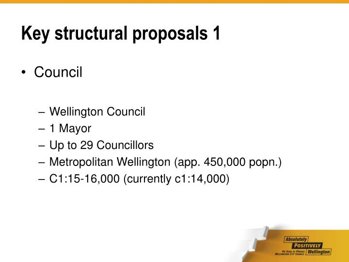 Key structural proposals 1