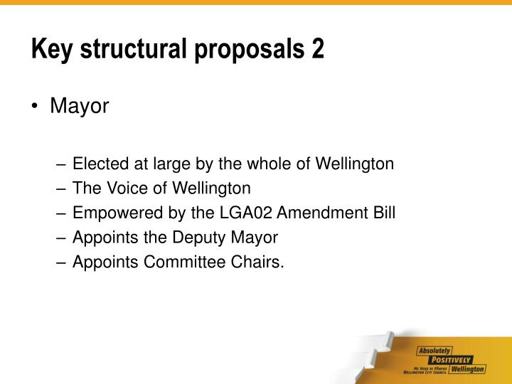 Key structural proposals 2