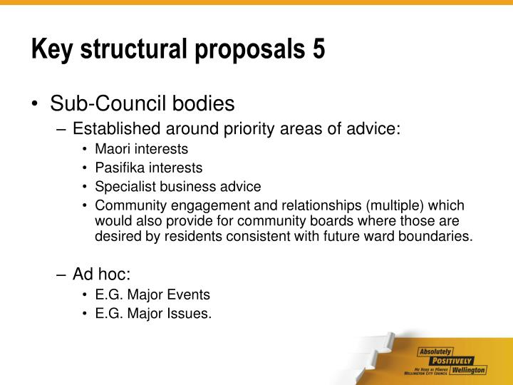 Key structural proposals 5
